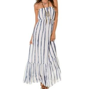 QSW indigo splash strapless maxi dress